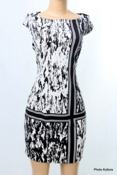 Patternedblack and white dress by London Style SOLD OUT